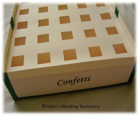 confetti photo: Confetti Cone Holder Box confetticonesboxgreenandivory1.jpg