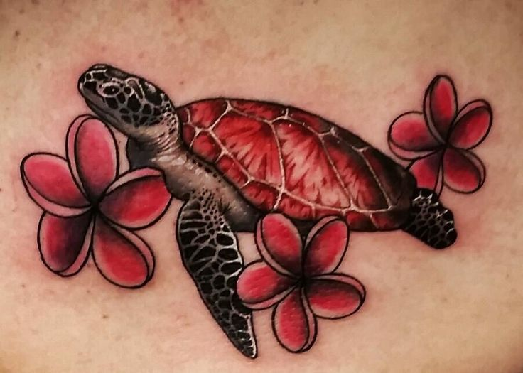Jen's sea turtle tattoo thanks to Locke Studios in Gettysburg PA.