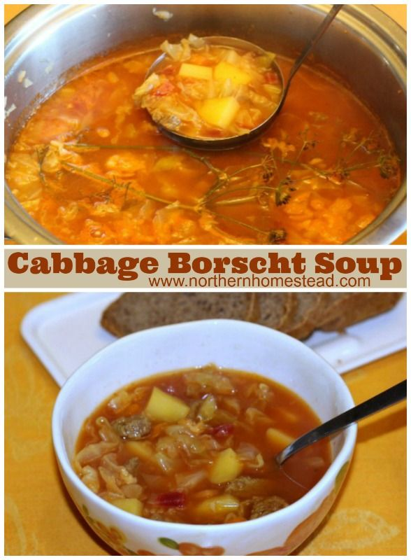 Cabbage Borscht Soup with potatoes, delicious.