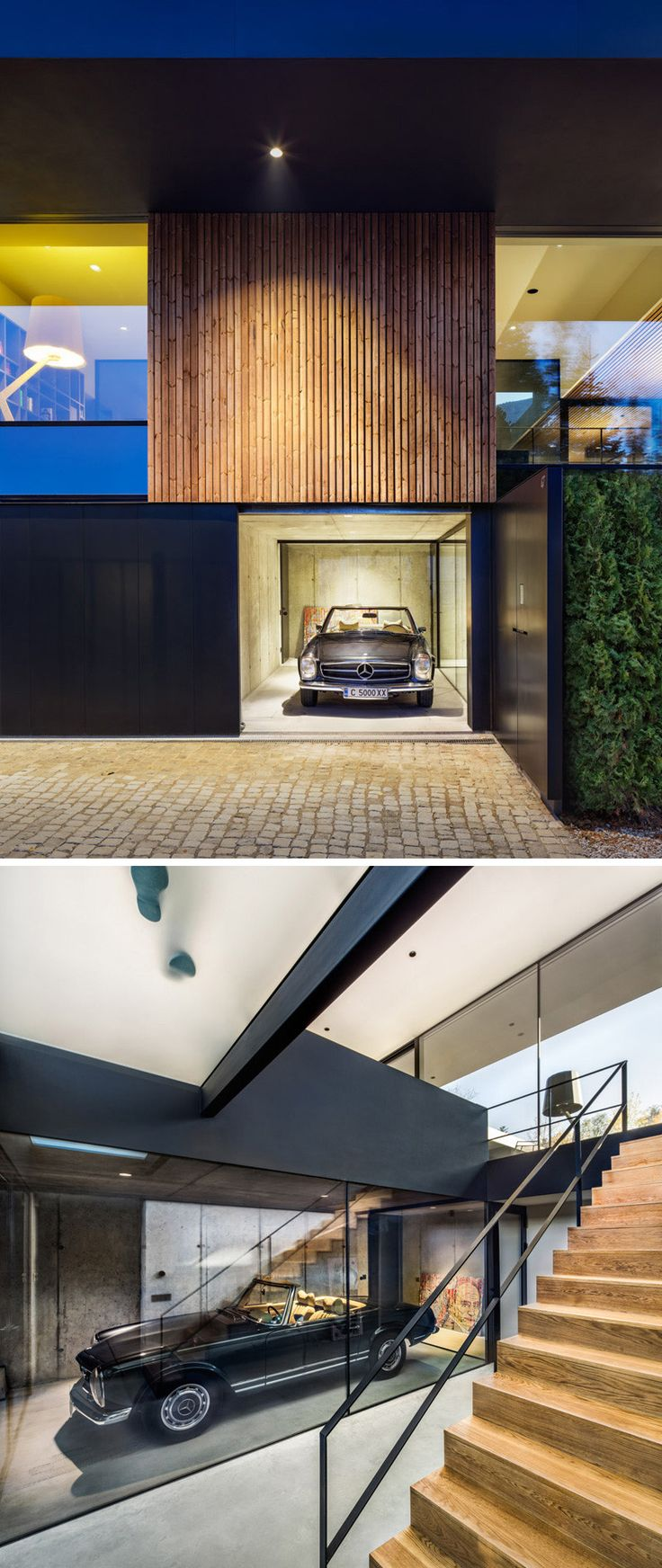 At the side of this home, is a single car garage. The garage is more like a showcase of the home owner's car, clearly visible through the glass windows.