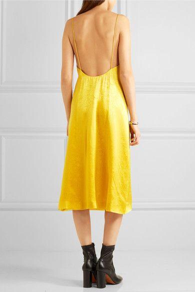 Topshop Unique - Floral Fatale Silk-jacquard Dress - Yellow - UK10