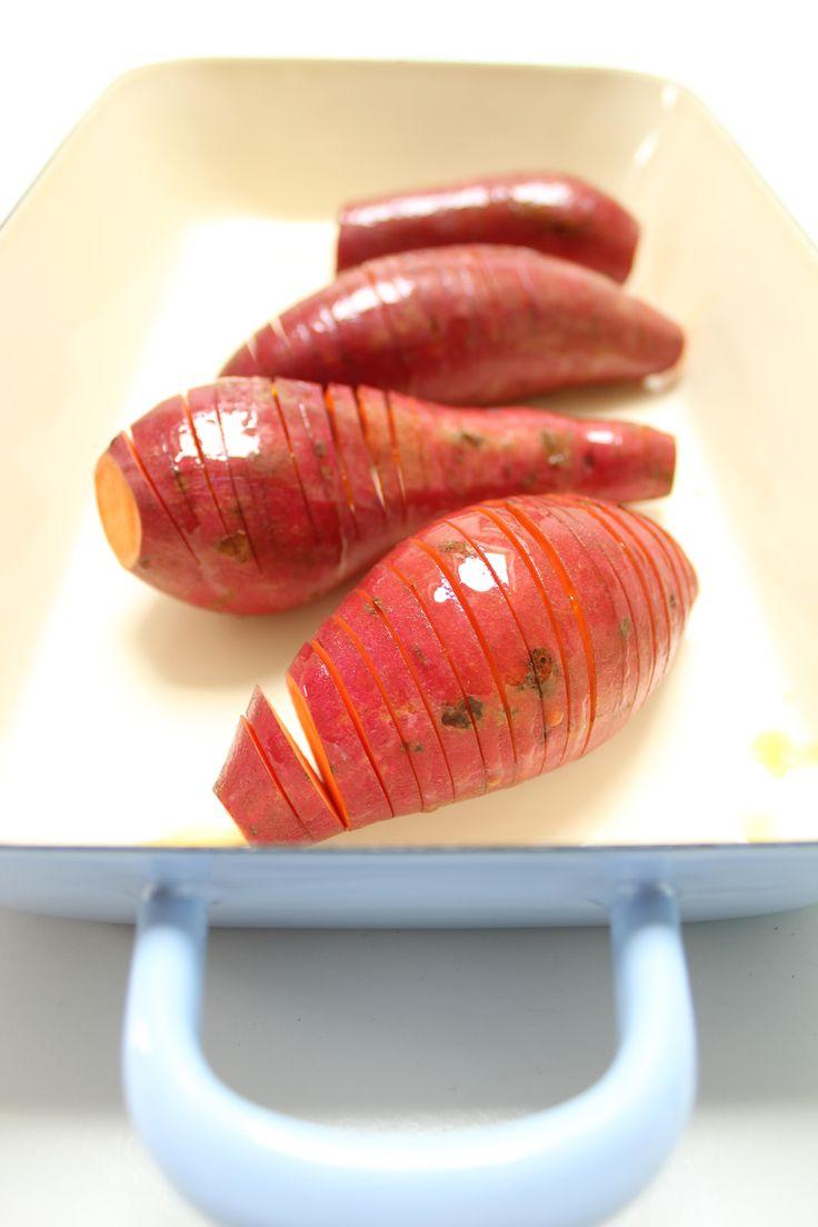 Zoete aardappelen hasselback