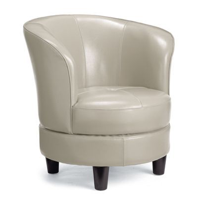 This swivel chair comes in a purple leather that I think would be PERFECT for your living room!