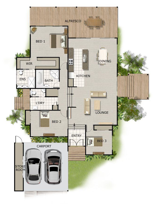 72 best 3 bedroom house plans images on pinterest house Split bedroom house plans