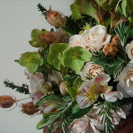 "No ""winter blues"" here!  #Hellebore #roses #rosemary #dried #nigella #RussianRiverFlowerSchool #McQueens"