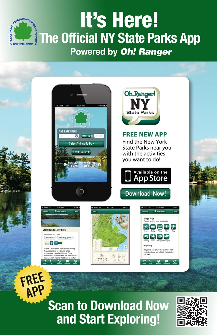 The Oh Ranger! NY State Parks app is designed to provide everything a visitor would need to become familiar with a property, including contact information, directions, amenities, maps and events. Information is updated regularly in partnership with state park officials. Users can search by zip code and desired activity to find locations near them to go hiking, camping, boating, birding, and discover historic sites, nature centers and more.