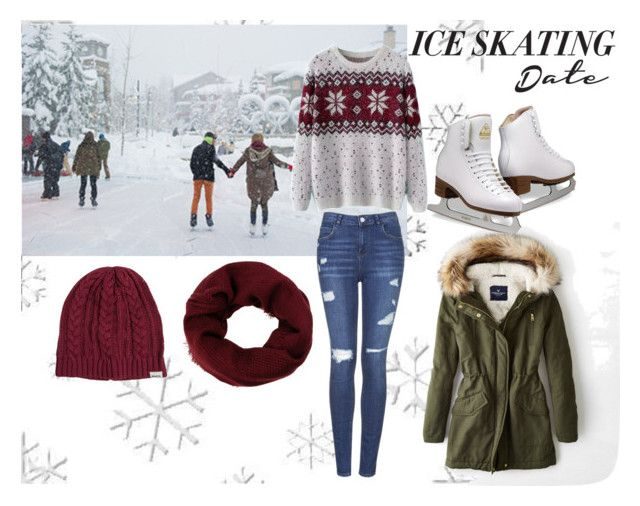 """Romantic ice-skating date"" by irenaam ❤ liked on Polyvore featuring American Eagle Outfitters, Topshop, ESPRIT, RVCA, Chicnova Fashion, Winter, romantic, date and iceskating"