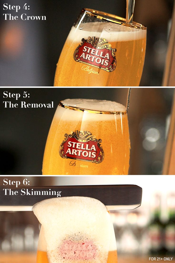 The perfect pour continues with steps 4–6 of our 9-step pour process. Each step brings out the care, craft, and precision in each Stella Artois. Enjoy this Belgian lager how it was meant to be enjoyed.