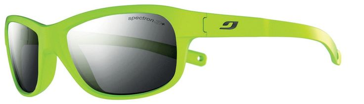 Julbo Kid's Player Sunglasses with Spectron 3+ Lens, Green, 4-8 years. Spectron 3+ blocks 88% of visible light, Lite-weight shock resistance, Flash treatment improves visible light filtering, mirror effect on lenses. Wrap around shape for a good vision spectrum and protection. Curved Temples for good hold on the face and head. Cord Attachment. Asian fit: the ergonomics of the frame are adapted for Asian facial shapes.
