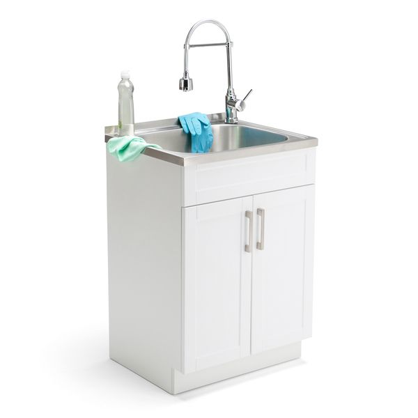 Rinse hands and clothes while doing laundry, with this laundry cabinet featuring a faucet and stainless steel sink. The on-and-off spray head on the articulated, high-arch faucet lets you easily contr
