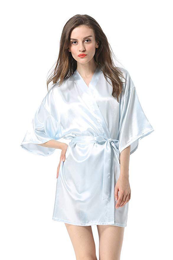 355a30adb8b Vogue Forefront Women s Satin Plain Short Kimono Robe Bathrobe at Amazon  Women s Clothing store