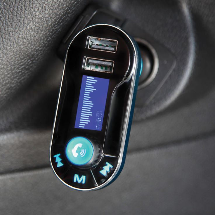 The Hands Free Bluetooth Speakerphone FM Transmitter - Hammacher Schlemmer. This is the car charger that streams music from a smartphone through the stereo and enables hands-free phone calls. The device simply plugs into a DC port, connects to a smartphone via Bluetooth, converts an FM signal to digital music, and plays the music through the car's speakers. #GiftsforHim #GiftsforHer #GadgetGifts