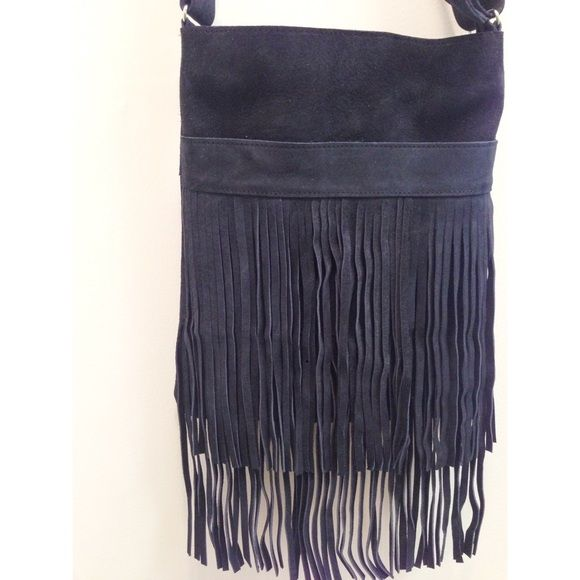 Navy Suede Fringe Bag. Open to offers!! ✨ NWOT Genuine leather navy suede bag. Bags Crossbody Bags