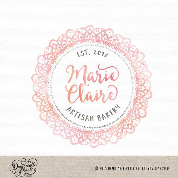 Delicate laces watercolor logo design Premade design perfect for bakery, floral shops & blogs https://www.etsy.com/listing/252451455/delicate-watercolor-lace-premade-custom