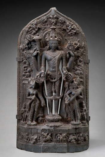 Vishnu (Sanskrit: विष्णु) venerated as the Supreme Being in the Vaishnava sect. He is also commonly known as Narayana or Hari. Smarta followers of Adi Shankara, among others, venerate Vishnu as one of Panchayatana puja. The Vishnu Sahasranama declares Vishnu as Paramatman (supreme soul) and Parameshwara (supreme God).The Hindu deity Vishnu with Lakshmi and Sarasvati c. 1100–1200 Bangladesh; Dhaka District; stone; Asian Art Museum of San Francisco, the Avery Brundage Collection