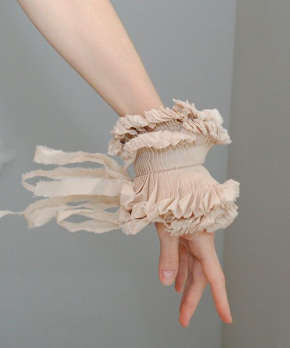 Ruffled cuffs/ Ruffled Fashion/ Shabby chic/ Beige Wedding/ wrist cuff/ Fabric bracelet/ rusteam tt team teamstyle. $45.00, via Etsy.