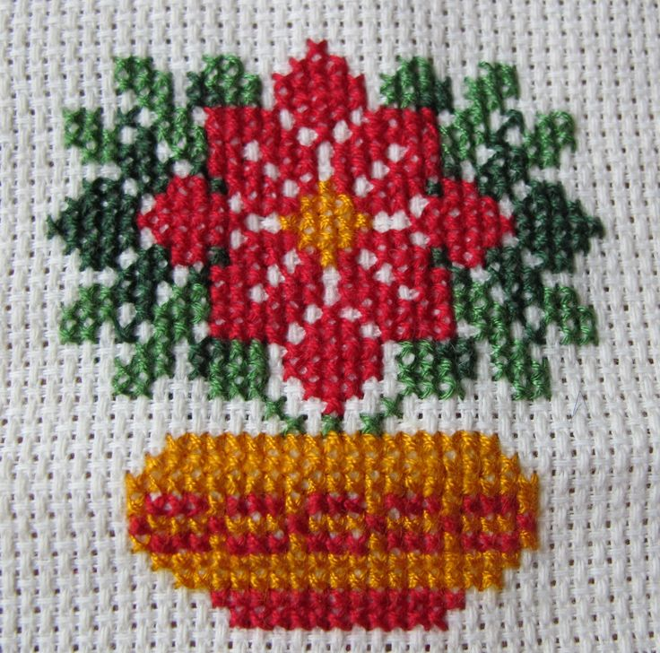 Kerstster / Poinsettias Christmas cross stitch