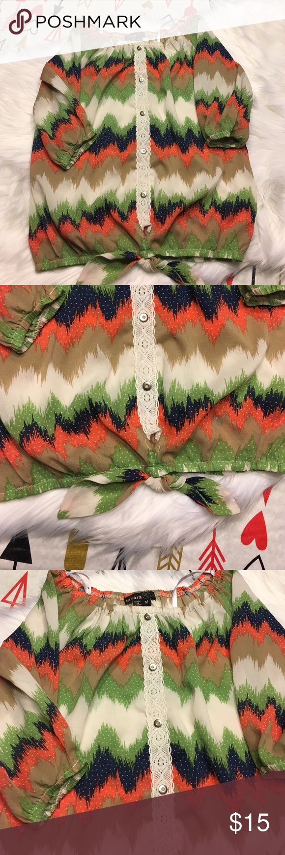 Little girl Chevron shirt size medium Very cute salmon navy blue green beige little girl shirt size medium in  a Chevron print Shirts & Tops Blouses