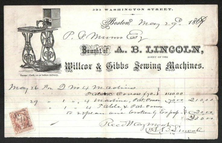 Willcox  Gibbs Sewing Machines Boston Ma 1869 Beautiful Vintage Letterhead Rare