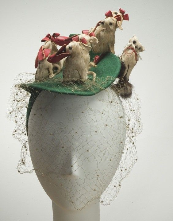 Hat (Dogs), Bes-Ben (American, 1898-1988): ca. 1940's, felt, leather, fur, beads, netting. [Yes. He designed TWO hats with dogs.]