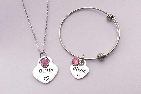 Personalised girls jewellery personalized by EmsStampedJewellery