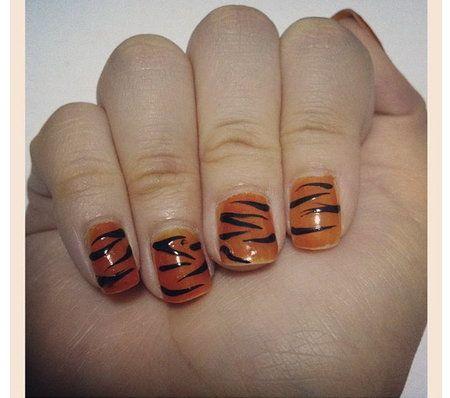 Tiger stripe nail art! - #tigerstripe #stripe #tiger #orange #black #animal - bellashoot.com