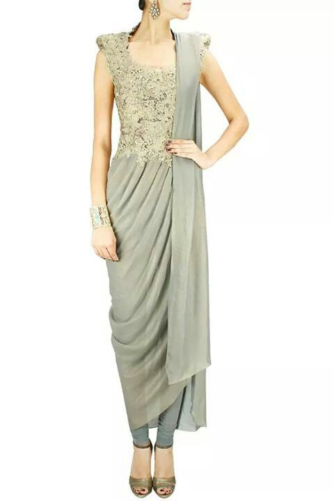 By Gaurav Gupta Lace appliqué kurta sari - Love this! Change the colour