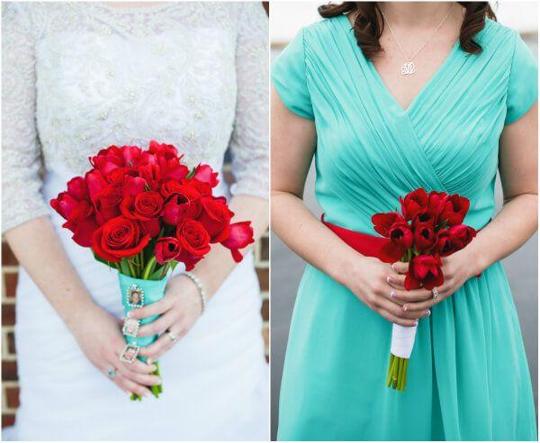 Мятный с красным на зимней свадьбе