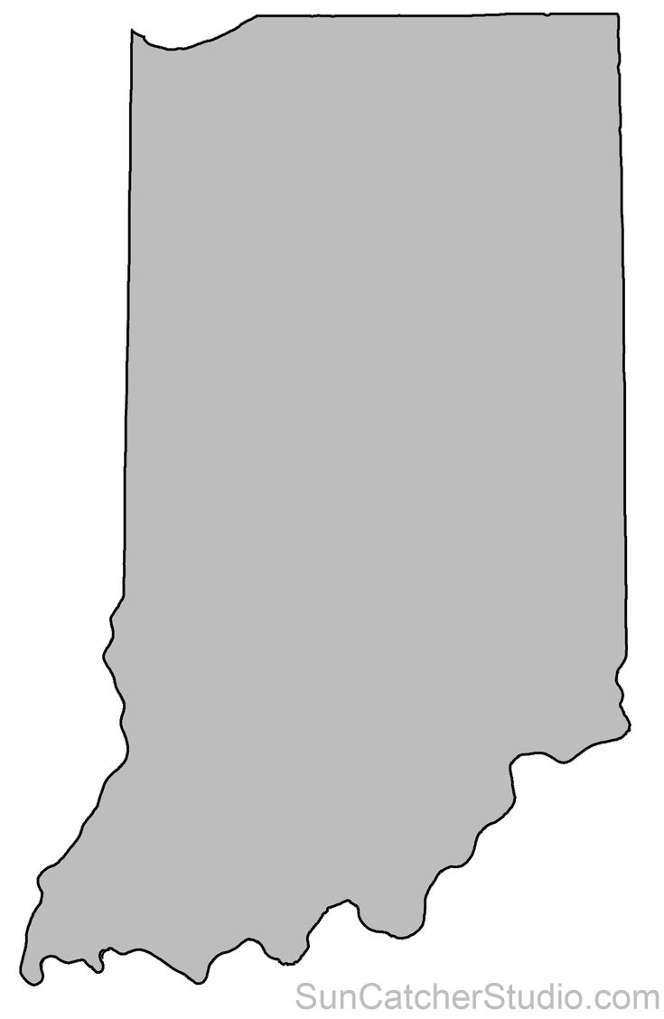 Indiana Map Outline Printable State Shape Stencil