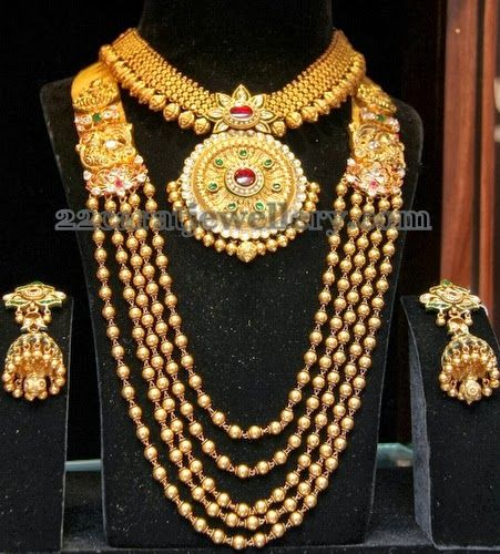 Jewellery Designs: Traditional Gold Beads Haram and Necklace