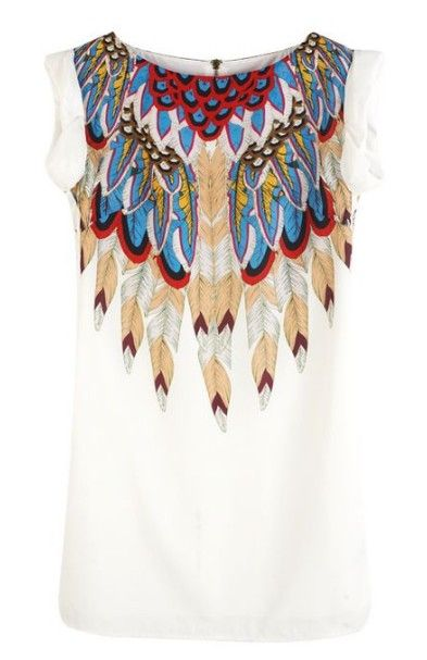 Feather PrintFeathers Prints, Sleeveless Feathers, Neck Sleeveless, Round Neck, White Round, Feathers Collars, Prints Polyester, Collars Dresses, Polyester Dresses