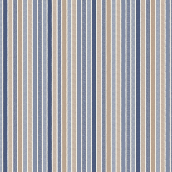 Even Tempered:  This fabric has thin stripes of blue, tan and white in varying shades.