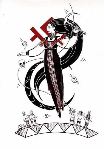 Морена, Богиня Зимы, пресекает нити жизни