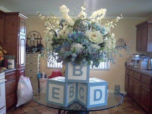 Baby Boy Shower Centerpiece For Buffet Table I Bought 3 Wood Block