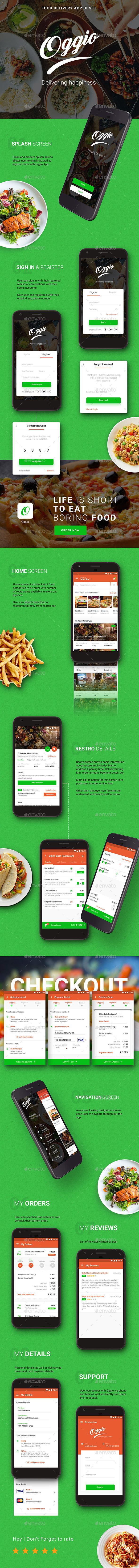 Food Delivery App | Oggio | App UI Set — Photoshop PSD #ecommerce #ui mobile • Download ➝ https://graphicriver.net/item/food-delivery-app-oggio-app-ui-set/20026004?ref=pxcr