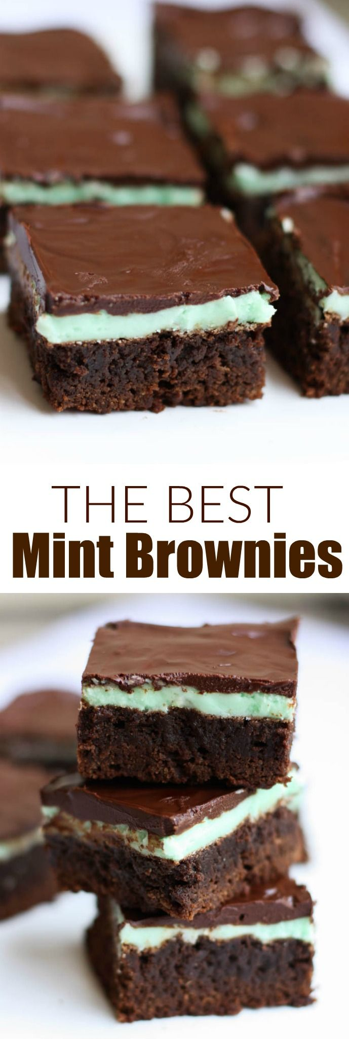 These soft, fudgy, homemade mint brownies are the perfect treat for parties and get togethers--Warning, they'll be gone in seconds!    tastesbetterfromscratch.com #brownies #chocolate #mintbrownies #dessert via @betrfromscratch