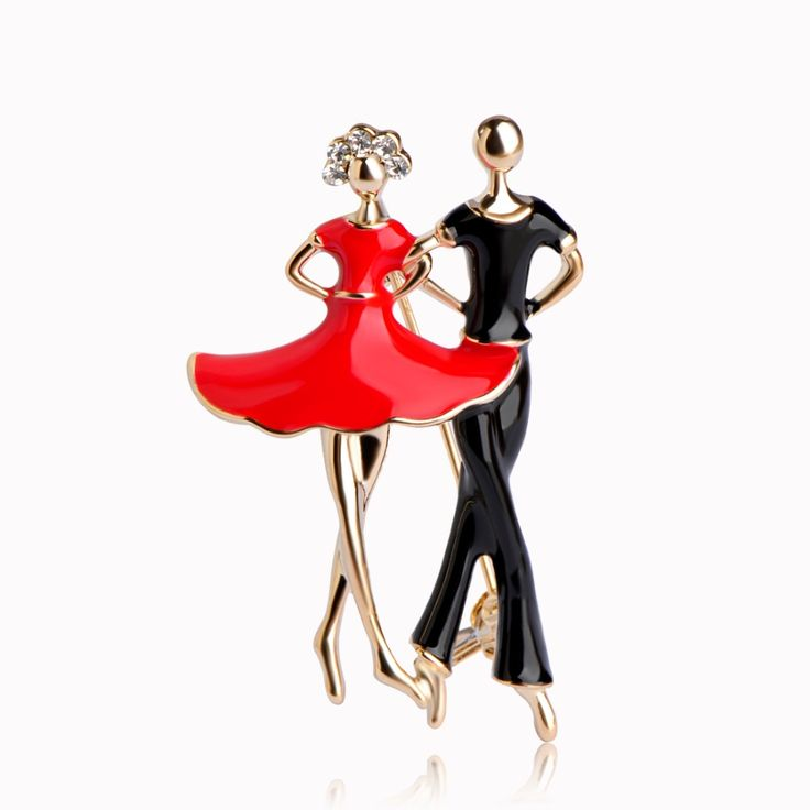 Enamel Ballet Dancer Brooches For Women Men Hijab Pin Up Clips Crystal Ballerinas Partner Dress Suit Lapel Pins Badge Bijouterie #Affiliate