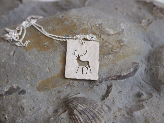 Silver Stag pendant: pendant showing a silhouette of a majestic stag. £50.00
