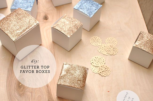 DIY glitter-topped gift boxes! Perfect, simple packaging for your wedding favors! Thanks @Green Wedding Shoes / Jen Campbell !
