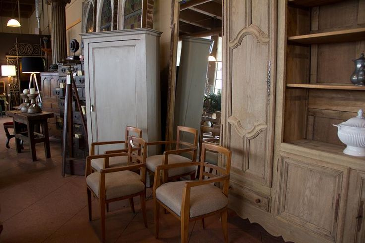Antique bleached oak French dresser unit. Set of 4 vintage chairs recovered in French linen.