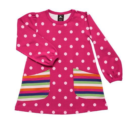 Playful pocket tunic in beautiful magenta, with soft powder pink polka dots. Colourful multi stripe pockets for hiding the treasures :)