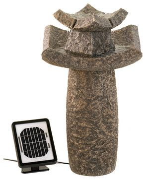 Outdoor Temple Solar Water Fountain - asian - Outdoor Fountains - Koolekoo