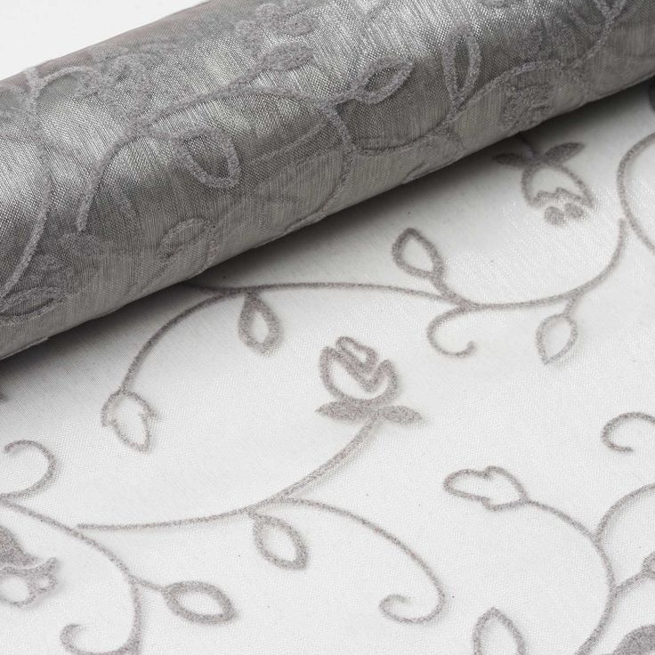"Muchos Besos Embroider 12"" x 10 yards - Silver 