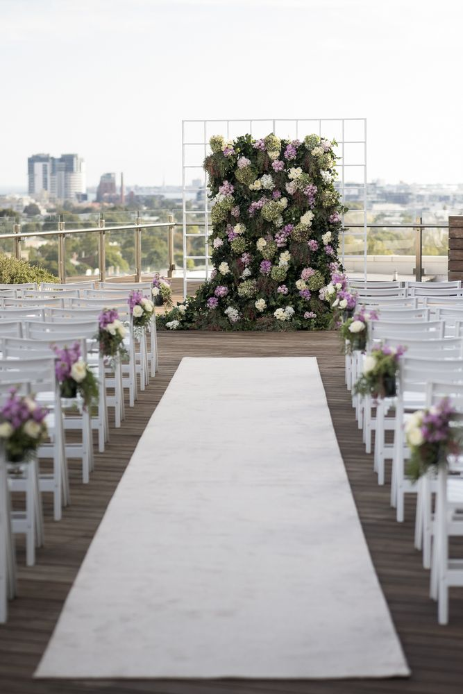 #Lilac and greenery wedding backdrop for glamour Wedding ceremony in Melbourne   Photo by Blumenthal Photography.   I take you - UK wedding blog #weddingceremony