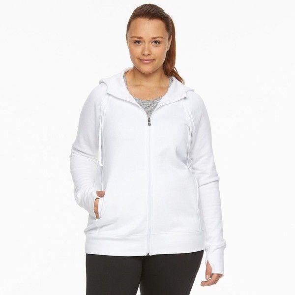 Plus Size Tek Gear® Fleece Hoodie ($14) ❤ liked on Polyvore featuring plus size women's fashion, plus size clothing, plus size tops, plus size hoodies, plus size, white, fleece hoodie, long hoodie, plus size hoodie and long hooded sweatshirt