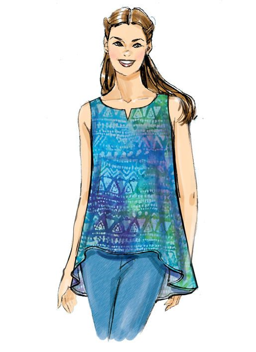 On-trend tops and tunics sewing pattern for warm weather. Butterick B6355 Misses' Double-Layer, Cold-Shoulder or Notch-Neck Tops