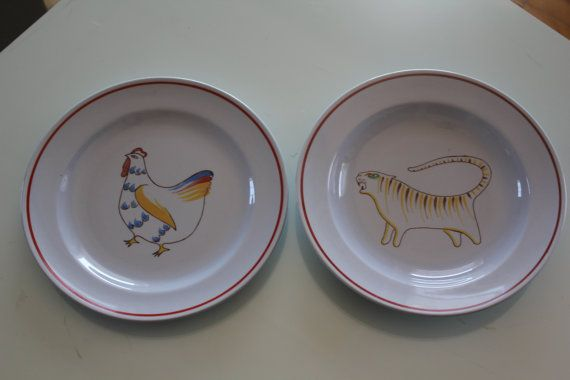 Childrens dinner plate and bowl Animal Kingdom by FinnishTreasures, $88.00