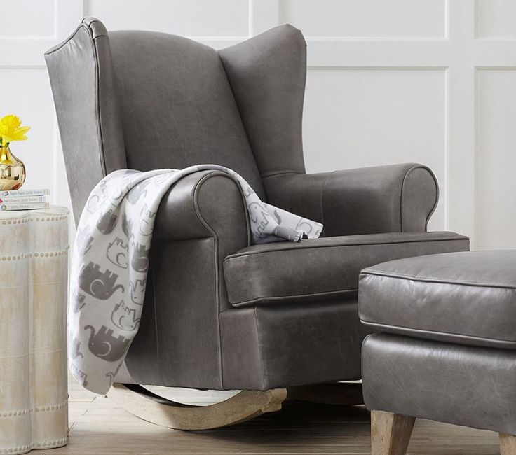 Grey Wingback Leather Rocker & Ottoman - Pottery Barn $1,439.20