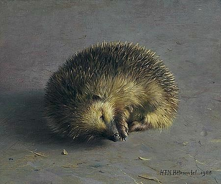 'Hedgehog' (1988) by Dutch painter Henk Helmantel (b.1945). Oil, 21 x 25 cm. via still life quick heart