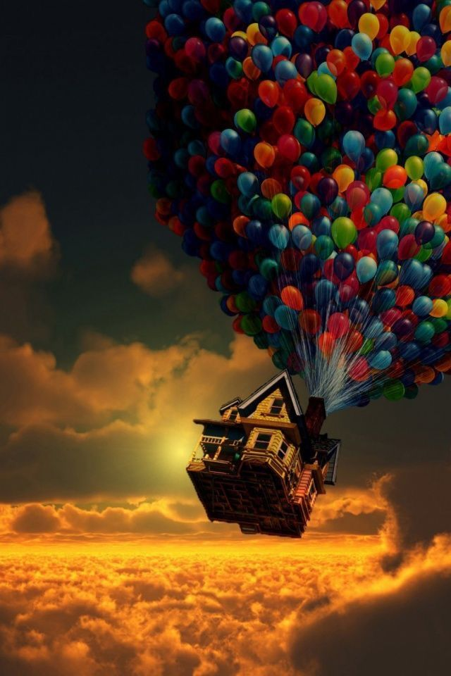 #wallpaper #iphone #house #balloons #sun #clouds #red #blue #green #purple #yellow #pink #orange #dark #grey <a class=